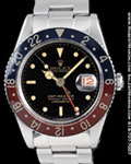 ROLEX VINTAGE GMT-MASTER STAINLESS STEEL GILT DIAL 6542