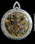AUDEMARS PIGUET VINTAGE 18K WHITE GOLD SKELETON DIAMOND POCKET WATCH