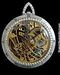 AUDEMARS PIGUET VINTAGE 18K WHITE GOLD SKELETON DIAMOND POCKET WATCH