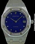 AUDEMARS PIGUET ROYAL OAK 36MM 18K WHITE GOLD AUTOMATIC LAPIS LAZULI DIAL DIAMOND BEZEL