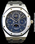 AUDEMARS PIGUET ROYAL OAK STEEL PERPETUAL CALENDAR BLUE DIAL BOX PAPERS