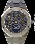 AUDEMARS PIGUET ROYAL OAK SKELETON QUANTIEME PERPETUAL CALENDAR UNPOLISHED PLATINUM 25636PT