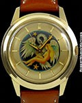 BULOVA VINTAGE CLOISONNE UNPOLISHED 18K AUTOMATIC ANTI-MAGNETIC