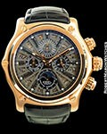EBEL 1911 BTR QP 18K ROSE GOLD SKELETON PERPETUAL CALENDAR CHRONOGRAPH 45MM