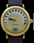 GERALD GENTA RETRO CLASSIC 18K AUTOMATIC JUMP HOUR RETROGRADE MOTHER OF PEARL