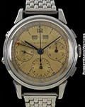E GUBELIN VINTAGE TRIPLE DATE CHRONOGRAPH UNPOLISHED STEEL