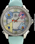 JACOB & CO. FIVE TIME ZONE MOTHER OF PEARL DIAL W/ DIAMOND BEZEL