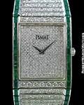 PIAGET VINTAGE 18K WHITE GOLD EMERALD PAVE DIAMOND WATCH