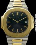 PATEK PHILIPPE REF 3700/1JA NAUTILUS JUMBO BLUE-GRAY DIAL 18K/SS CIRCA 1977
