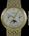 PATEK PHILIPPE 3945 AUTOMATIC PERPETUAL CALENDAR UNPOLISHED 18K BRACELET BOX & PAPERS