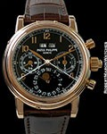PATEK PHILIPPE 5004R 18K ROSE PERPETUAL CALENDAR SPLIT-SECONDS CHRONOGRAPH BLACK ARABIC DIAL