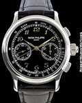 PATEK PHILIPPE 5370P PLATINUM SPLIT SECONDS CHRONOGRAPH BLACK BREGUET ENAMEL DIAL NEW