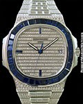 PATEK PHILIPPE NAUTILUS 5719/11G 18K WHITE GOLD ONE OF A KIND PAVE DIAMOND & SAPPHIRES NEW BOX & PAPERS