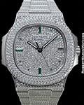 PATEK PHILIPPE JUMBO NAUTILUS 5719G 18K WHITE GOLD DIAMOND PAVE CASE DIAL BRACELET w/ EMERALD MARKERS