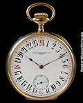 PATEK PHILLIPE CHRONOMETRO GONDOLO 18K ROSE KEYLESS 24 HOUR ENAMEL DIAL WITH RED CARDINALS