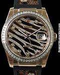 ROLEX EVEROSE 18K ROSE DATEJUST 116185 PAVE ZEBRA DIAL DIAMOND BEZEL & STRAP