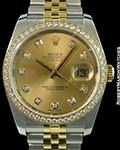 ROLEX 116243 DATEJUST STAINLESS & 18K YG AUTOMATIC DIAMOND BEZEL DIAMOND MARKERS