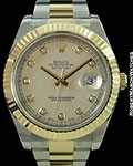 ROLEX 116333 DATEJUST II DIAMOND MARKERS AUTOMATIC STAINLESS & 18K