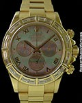 ROLEX 116568 DAYTONA 18K BAGUETTE DIAMOND BEZEL TAHITIAN MOTHER OF PEARL DIAL