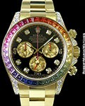 ROLEX 116598RBOW RAINBOW DAYTONA 18K BAGUETTE DIAMONDS SAPPHIRES NEW