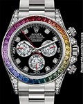 ROLEX 116599RBOW RAINBOW DAYTONA BAGUETTE DIAMONDS & SAPPHIRES 18K WHITE GOLD