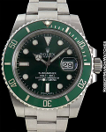 "ROLEX REF 116610LV SUBMARINER ""HULK"" STEEL MINT"
