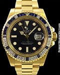ROLEX GMT 116748 SA 18K BAGUETTE DIAMOND & SAPPHIRE BEZEL BOX & PAPERS