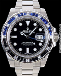 ROLEX GMT 18K WHITE GOLD 116749SABLNR BAGUETTE BEZEL NEW