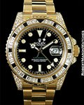 ROLEX GMT 116758SANR 18K DIAMONDS BLACK SAPPHIRES