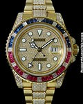 ROLEX 116758SARU GMT II 18K DIAMOND PAVE SAPPHIRES RUBIES BOX PAPERS