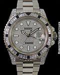 ROLEX GMT II 116759 SANR 18K WHITE DIAMONDS BLACK SAPPHIRES PAVE BOX PAPERS