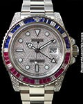 ROLEX 116759SARU GMT II 18K WHITE GOLD  SAPPHIRE RUBIES DIAMONDS PAVE DIAL