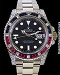ROLEX GMT II 116759SARU 18K WHITE GOLD SAPPHIRES DIAMONDS BOX PAPERS