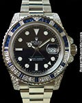 ROLEX 116759SA GMT MASTER II 18K WHITE GOLD BAGUETTE DIAMOND/SAPPHIRE BEZEL NEW BOX & PAPERS