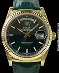ROLEX 118138 DAY DATE PRESIDENT 18K GREEN DIAL NEW BOX & PAPERS