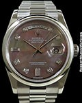 ROLEX 118209 DAY DATE 18K WHITE GOLD TAHITIAN MOP DIAL BOX & PAPERS