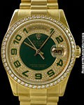 ROLEX 118348 DAY DATE GREEN ANNIVERSARY DIAL DIAMOND BEZEL 18K