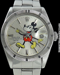 ROLEX REF 1501 OYSTER PERPETUAL DATE MICKEY MOUSE DIAL STEEL