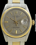 ROLEX REF 16000 DATEJUST 18K/STAINLESS STEEL GRAY LINEN TEXTURE DIAL