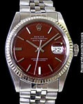 ROLEX 1601 DATEJUST CRIMSON LACQUER DIAL UNPOLISHED STEEL