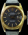 ROLEX 1601 DATEJUST 18K BLACK DIAL