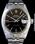 ROLEX 1601 DATEJUST 18K/STEEL BLACK GILT GLOSS DIAL BOX & PAPERS