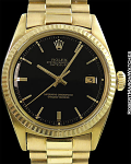 ROLEX 1601 DATEJUST 18K BLACK GLOSS MIRROR DIAL