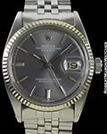 ROLEX DATEJUST 1601 GRAY DOOR STOP DIAL w/ BOX & PAPERS
