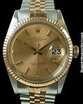 ROLEX 1601 DATEJUST 18K ROSE/STEEL AUTOMATIC BOX & PAPERS ROSE DIAL