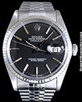 ROLEX 1601 DATEJUST 18K WHITE GOLD/STEEL BLACK DIAL