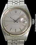 ROLEX DATEJUST 1601 GRAY GHOST DIAL STEEL & 18K WHITE GOLD