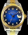 ROLEX DATEJUST 16013 18K/STEEL QUICKSET PLASTIC BLUE VIGNETTE