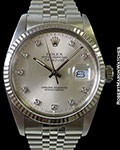 ROLEX 16014 DATEJUST QUICKSET STAINLESS AUTOMATIC DIAMOND MARKERS