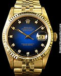 ROLEX DATEJUST 16018 UNPOLISHED 18K BLUE VIGNETTE